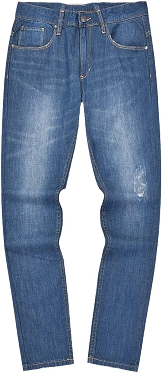 CACLSL Men's Summer Thin Straight White Cotton Distressed Jeans Casual Pants