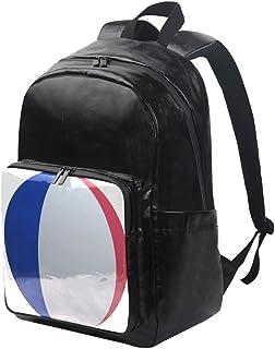 DEZIRO mochila de lona redonda con bandera francesa, mochila de viaje, mochila plegable para exteriores, correas ajustables para el hombro