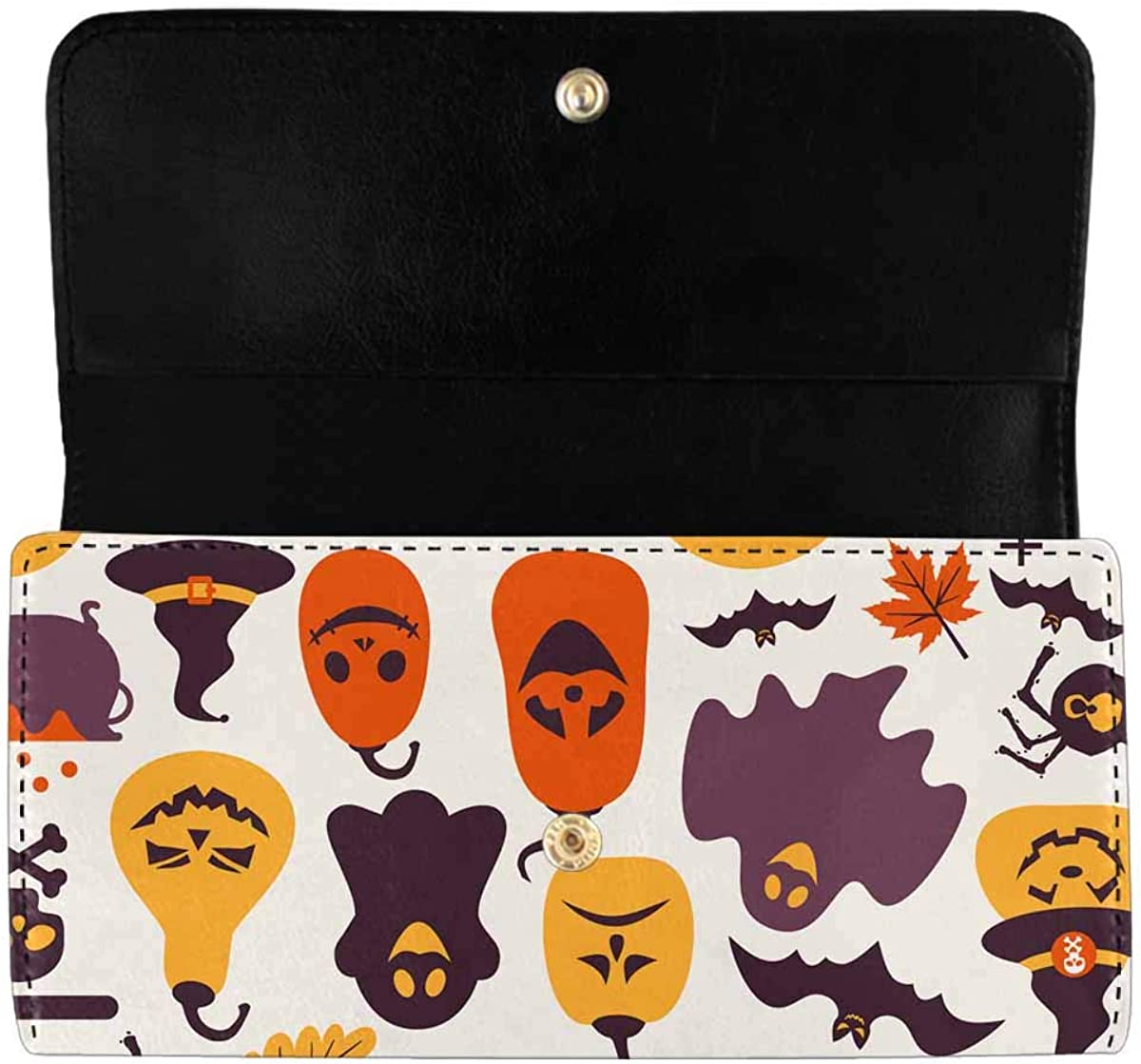 INTERESTPRINT Women's Trifold Long Clutch Wallets Owl with Tribal Ornament PU Leather Clutch Bag