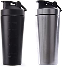 Fransande 2x Stainless Steel Protein Vibrating Bottle Gym Shaker Sports Milkshake Blender Water Bottle Whey Protein Fitness Without BPA Silver Black Estimated Price : £ 13,56