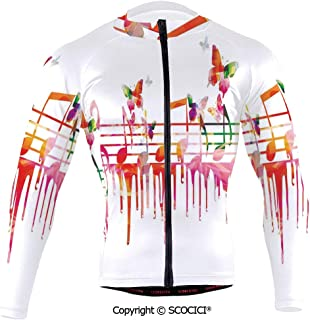 SCOCICI Cycling Jersey Long Sleeves Men,Colorful Artwork Music Notes Clef Composer Orche