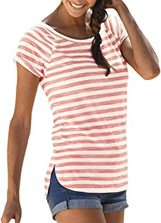 83c789d5b19402 Suiting & Blazers iZHH Fashion Womens Shirt O-Neck Striped Print Color  Block Top Patchwork ...