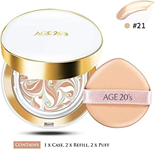 AGE 20's Signature Essence Cover Pact SPF 50+ PA++++ Long Stay #21/#23 (With Refills and Air Puff) (#21 Light Beige)