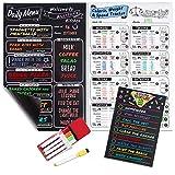 Magnetic Menu Board for Kitchen - 5 Set Bundle - with Health Board, Weekly to Do List, Pen Holder & Dry Erase Pens. Meal Planning Magnet for Fridge Black Magnetic Chalkboard for Refrigerator Planner