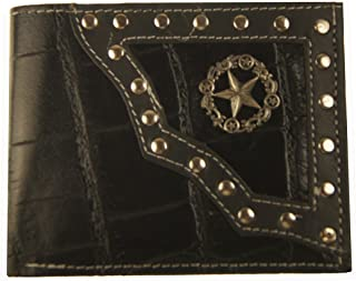 STARウォレット本革カウボーイ西部メンズ二つ折りコンチョ財布