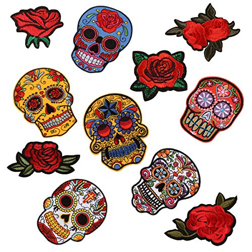 Skull Rose Patches Sugar Skull Embroidery Flowers Sew On Appliques Ghost Head Cloth Chest Sticker with Day of The Dead Badges Logo for Free DIY Decoration Coat, Jackets, Jeans(11 PCS)