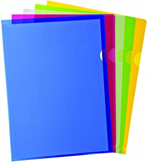 TATHASTU Clear Document Folder Copy Safe Project Pockets (Pack of 10) Plastic Paper Jacket Sleeves in Assorted Colors Scratch Resistant Paper Holders Organizer (W 8.7