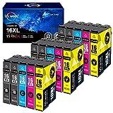 Uniwork 16XL Cartucce d'inchiostro Compatibili per Epson 16XL 16 per Epson Workforce WF-2630 WF-2760 WF-2510 WF-2530 WF-2520 WF-2540 WF-2750 WF-2660 WF-2650 WF-2010 (6 Nero,3 Ciano,3 Magenta,3 Giallo)