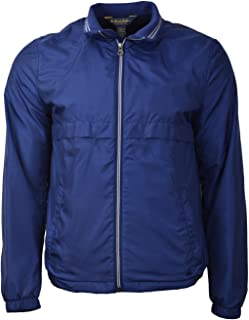 Brooks Brothers Men's Contrast Zip Packable Windbreaker Rain Jacket Dark Blue