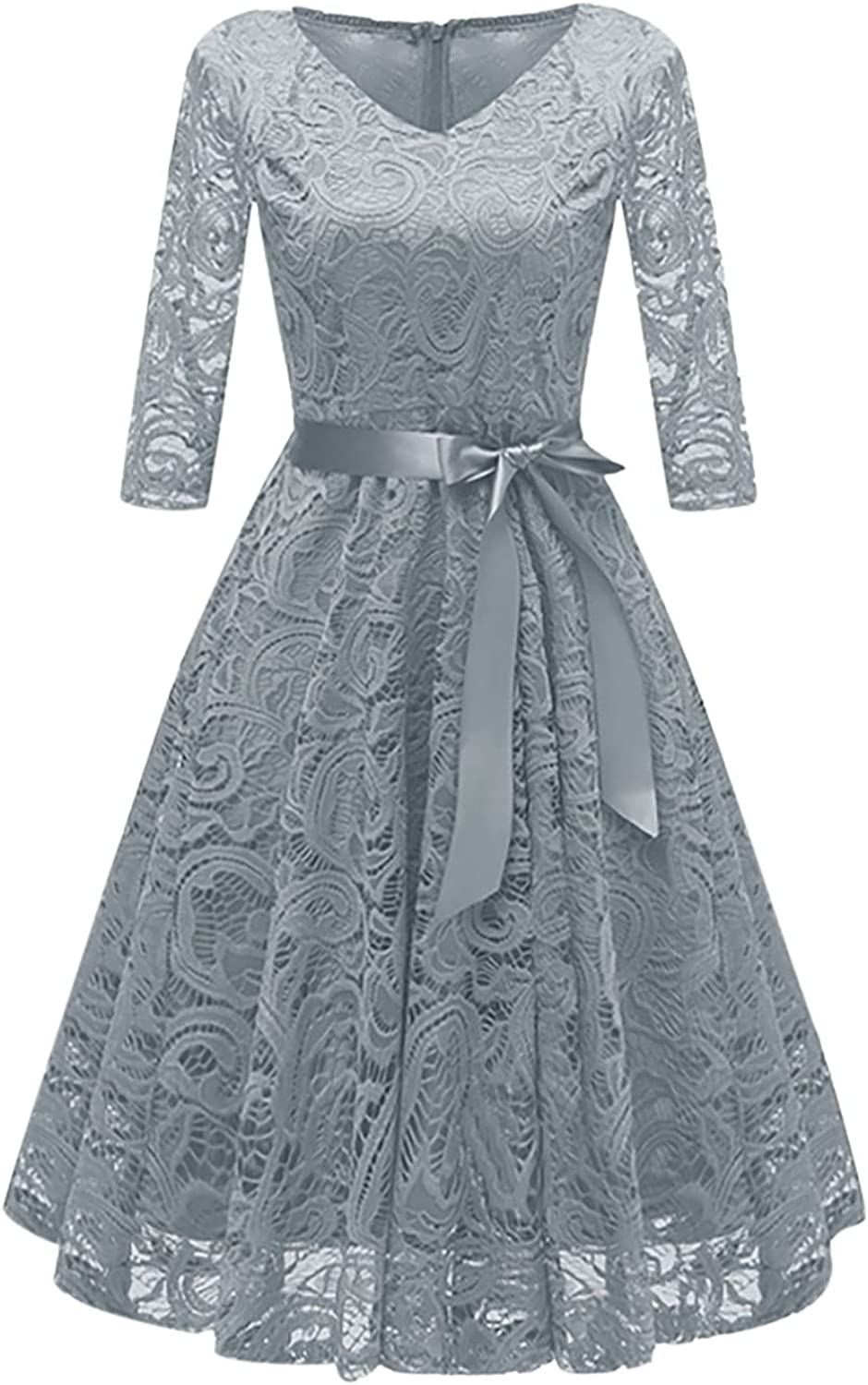 Womens Dresses Sexy Vintage Temperament V-Neck Lace Sexy Long Sleeve Lace Dress with Tie