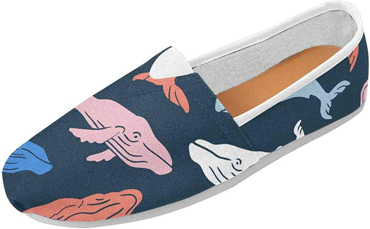 INTERESTPRINT Sperm Whale Womens Comfortable Casual Slip On Loafers