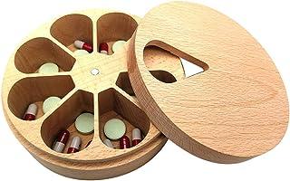 Sysow Boîte à pilules en Bois Massif boîte à pilules Organisateur boîte de Rangement Polyvalente Cuisine sel assaisonnemen...