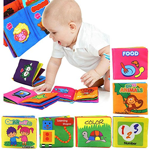 LQZ(TM) 1 x Livre Tissu Bébé Enfant Age Eveil Premier Intelligence cognitive éducation Chevet Jouet (Color)