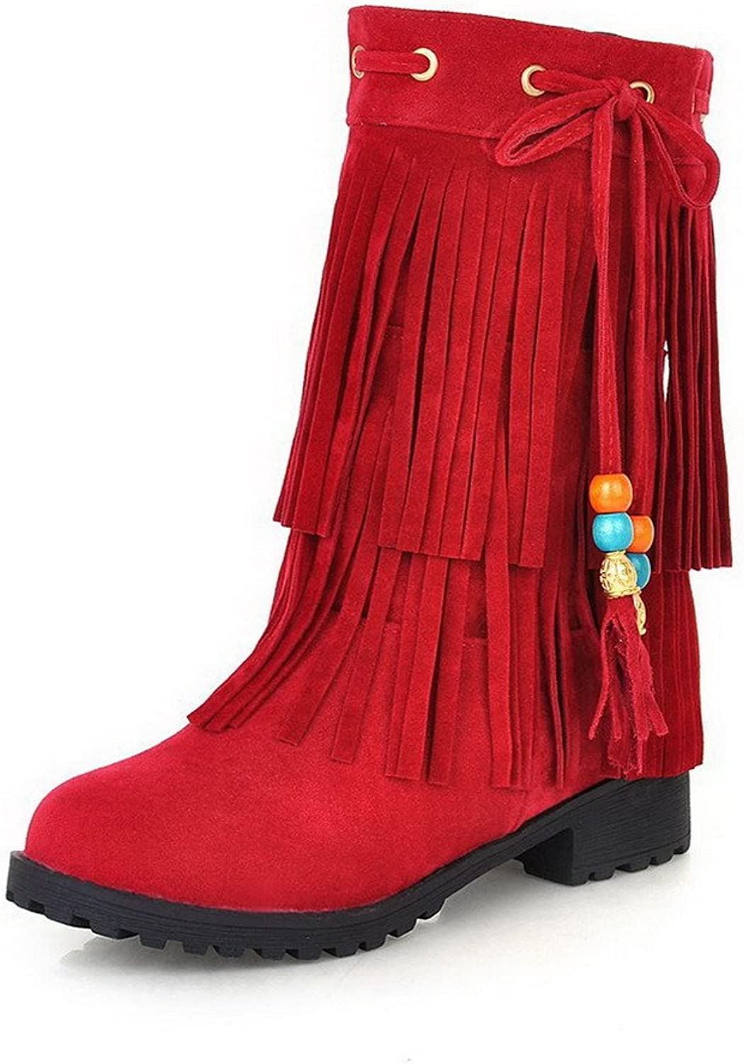 WeenFashion Women's Frosted Pull-On Round Closed Toe Low-Heels Low-Top Boots