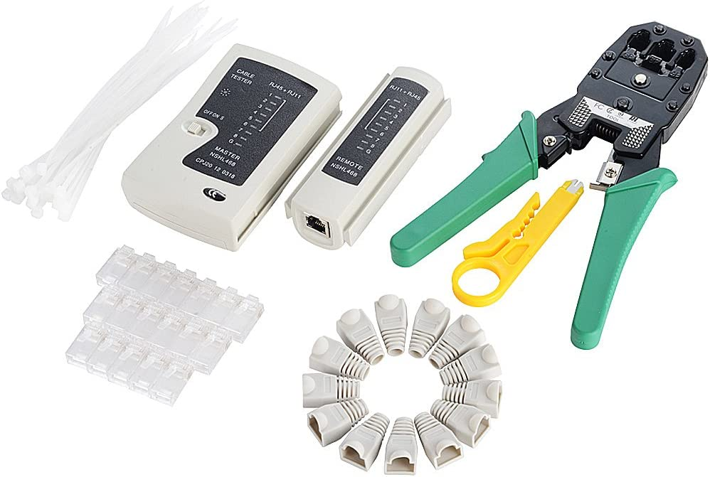 Network Tool quality assurance Max 58% OFF Kit 6 in 1 - +50 Ethernet Tester RJ4 Crimper +Cable