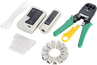 Network Tool Kit 6 in 1 - Ethernet Crimper +Cable Tester +50 RJ45 CAT6 Connector +Wire Stripper +20 RJ45 Connector Boots Cover +20 Nylon Cable Ties