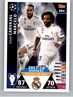2018-19 Topps UEFA Champions League Match Attax #54 Dani Caravajal & Marcelo 17-18 Real Madrid Winners Official Futbol Soccer Card