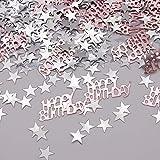 APERIL Happy Birthday Geburtstag Konfetti Silber Stern Konfetti Pailletten, 30g Tischkonfetti, Geburtstag Konfetti für Jungen Mädchen Geburtstagsfeier Dekoration-Roségold - 7