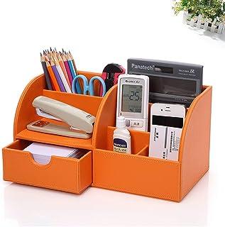 Fashion Stationery Box Multifunctional Black Storage Box PU Leather Pen Holder Creative Desktop Office Size: 28.5 * 14.5 * 14.5cm Interesting (Color : Orange)