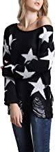 HZSONNE Womens Off The Shoulder Star Printed Pullover Sweater Ripped Knitted Jumper Tops