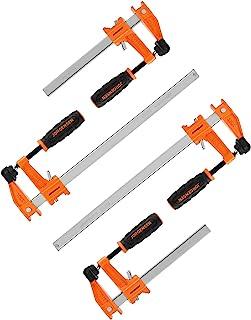 JORGENSEN 4-pack Steel Bar Clamps Set, 6-inch & 12-inch Medium Duty, 600 Lbs Load Limit …