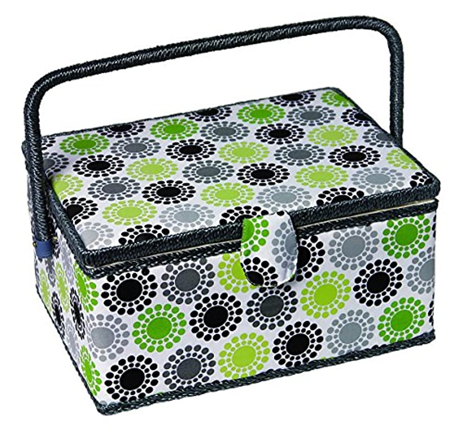 Kleiber Kleiber Large Rectangular Sewing Basket Sunflower Pattern with Whicker Handle, Lime Green/Grey/Black by Kleiber ycgkxjuyj315