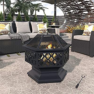 Tileon 2-in-1 Outdoor Steel Fire Pit with Spark Screen Cover Log Grate Fire Poker, Heavy Duty Wood Burning Fire Pit Steel BBQ Grill for Backyard Bonfire Patio