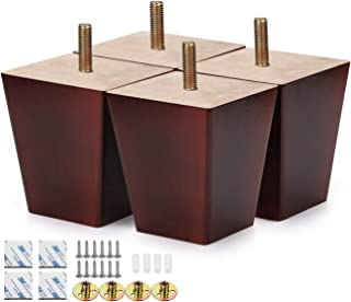 Alasdo Set of 4 Furniture Legs, 3 Inch Square Rubber Wood Legs for Furniture Tapered Coffee Finished Wood Legs for Sofa, Chair, Ottoman, Stool