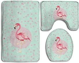 NEWpapa Bath Mat,3 Piece Bathroom Rug Set,Pink Flamingo Flannel Non Slip Toilet Seat Cover Set,Large Contour Mat,Lid Cover for Men/Women