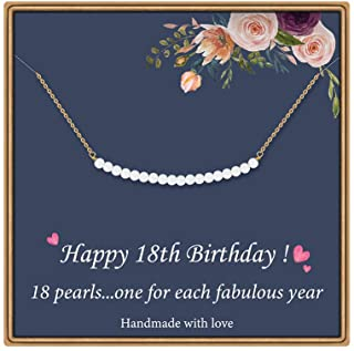Birthday Gifts for Girls Necklace - Pearl Pendant Necklace for 7th 8th 9th 10th 11th 12th 13th 14th 15th 16th 21st 25th 30th Sweet Teen Girl Gifts Happy Birthday Gifts for Women Birthday Jewelry