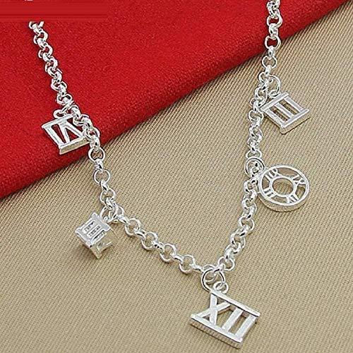 LKLFC Collar con Colgante de Cinco números Romanos, Collar con Colgante de joyería de Compromiso para Mujer, Regalo para Mujeres, Hombres, niñas, niños