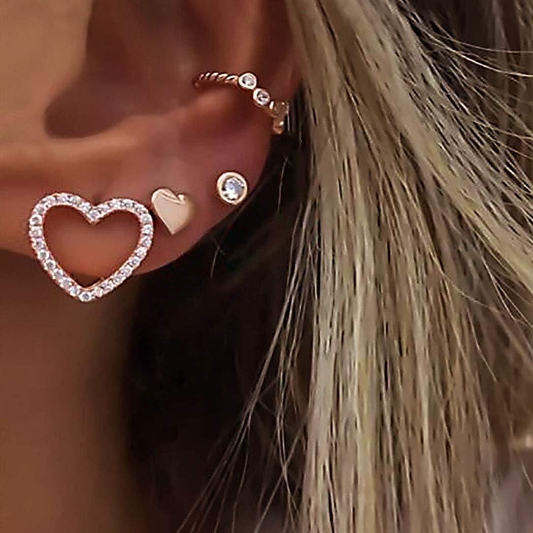 Gold Multiple Piercings Heart Stud Earrings Rhinstone Ear Clip for Women Girls Geometric Hollow Earring Set with Charms.