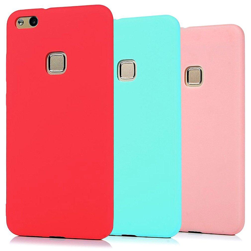 Funda Huawei P10 Lite, 3 Unidades Carcasa Huawei P10 Lite Silicona Gel, OUJD Mate Case Ultra Delgado TPU Goma Flexible Cover para Huawei P10 Lite (Rojo, Rosa claro, Verde menta): Amazon.es: Oficina