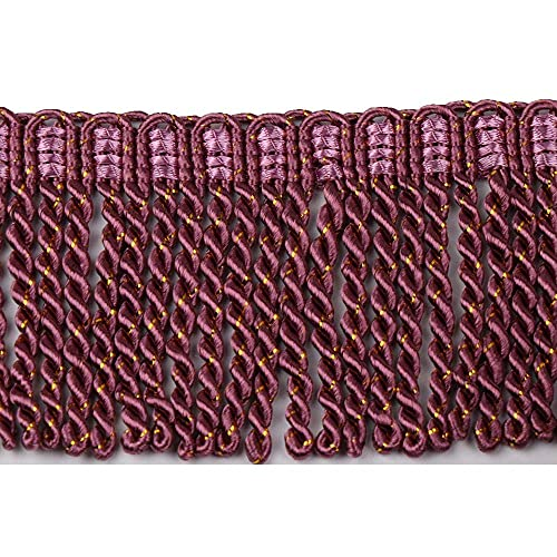 HEARTWISH Curtain Fringes Bullion Fringe Trim 3Inch Wide 5 Yards Long,Fabric Trims and Embellishments Curtain Weights Fringes for Sewing DIY Decoration Plum