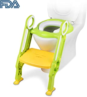 Potty Training Seat Potty Toilet Seat Trainer Ladder for Kid and Baby, Children's Toilet Seat Chair, Toddlers Toilet Training Step Stool for Girl and Boy [FDA Certified] (Green)