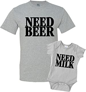 Need Beer & Need Milk Dad and Me Matching Set T-Shirt Bodysuit Clothing