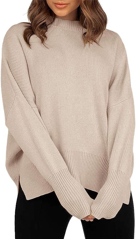 JOYCHEER trust Womens Sweaters Casual Sale Crewneck Slit Sleeve R Long Side