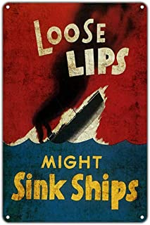 Not Applicable Home Decor - Safety Sign Loose Lips Might Sink Ships.12x16 Inch Metal Tin Sign