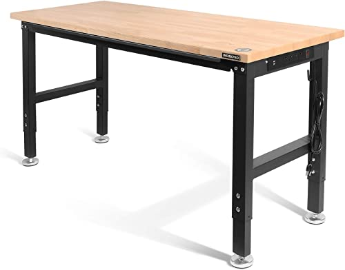 """WORKPRO 60"""" Adjustable Workbench, Rubber Wood Top Heavy-Duty Workstation, 2000 LBS Load Capacity Hardwood Worktable with Power Outlets, for Workshop, Garage, Office, Home"""