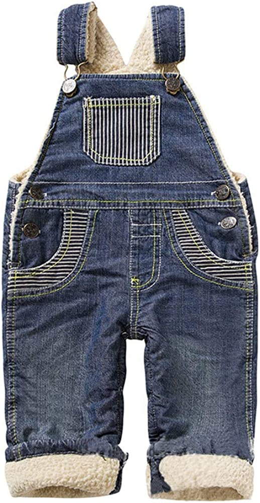 LittleSpring Baby Girl Denim Overalls Sherpa Lined Snap On Casual