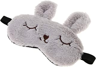 F Fityle Fluffy Plush Bunny Eye Mask Cute Animal Sleeping Eye Cover Blindfold