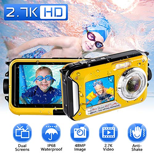 Waterproof Camera Underwater Camera Full HD 2.7K 48 MP Camera Selfie Dual Screens Point and Shoot Camera Selfie Dual Screen Waterproof Camera for Snorkeling