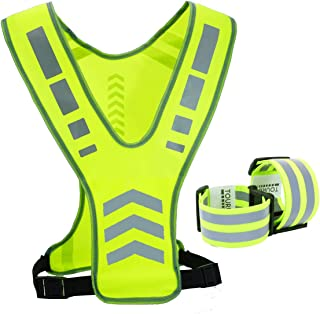 TOURUN Reflective Running Vest Gear with Pocket for Women Men Kids, Safety Reflective Vest Bands for Night Cycling Walking Bicycle Jogging