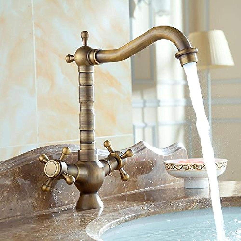Europische Antike Bronze Gebürstetem Messing Küchenarmatur Bad Schüssel Armaturen Doppelgriffe Einlochmontage Waschbecken 360 Grad Wasserhhne