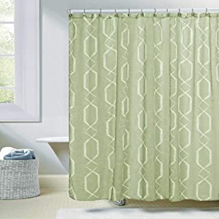 Duck River Textiles - Arcadia Faux Silk Geometric Mildew Resistant Fabric Shower Curtain Liner For Bathroom Waterproof | Water Repellent & Antibacterial - Assorted Colors - (70 X 72 Inch - Sage Green)