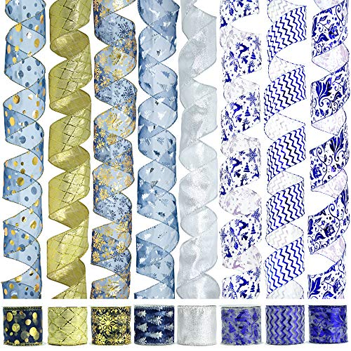 VATIN Christmas Tree Garland Ribbon, Holiday Party Assorted Organza, Navy Blue Swirl Sheer Glitter Ribbon 48 Yards (Set of 8) by 2.5 Inch-Clearance