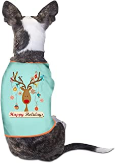 Lovely Dog Shirts Happy Holidays Reindeer Head Funny Logo Pet Puppy Tank Top Vest Canine T-Shirt