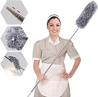 ENJSD Plumero Extensible, Plumero de Microfibra Desmontable y Flexible, plumeros telescópicos Extra Largos de Acero Inoxidable de 110 Pulgadas con Tapa de Silicona Suave, Limpiar telarañas(Gris)
