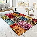 TT Home Alfombra multicolor de patchwork, amarillo, rojo, fucsia y crema, tamaño: 200 x 290 cm