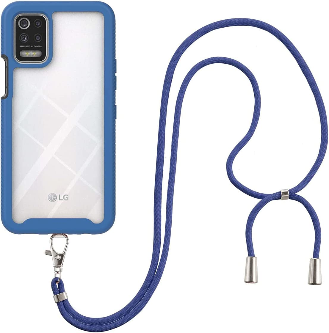 LG K52 Case, LG Q52/LG K62 Case, Gift_Source Slim Shockproof Crossbody Case 2 in 1 Soft Silicone Bumper and Clear Hard PC Back Cover with Adjustable Lanyard Neck Strap for LG K52/Q52/K62 6.6